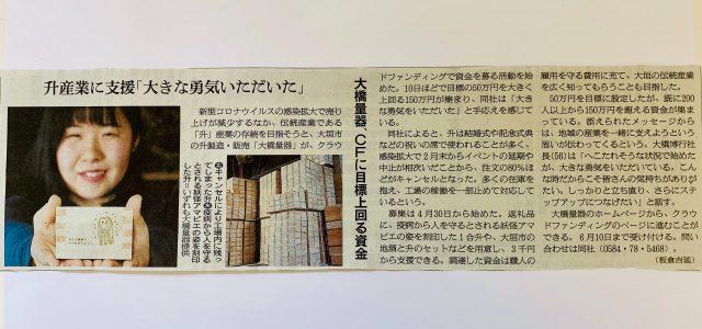 朝日新聞掲載。クラウドファンディングでのご支援ありがとうございます。